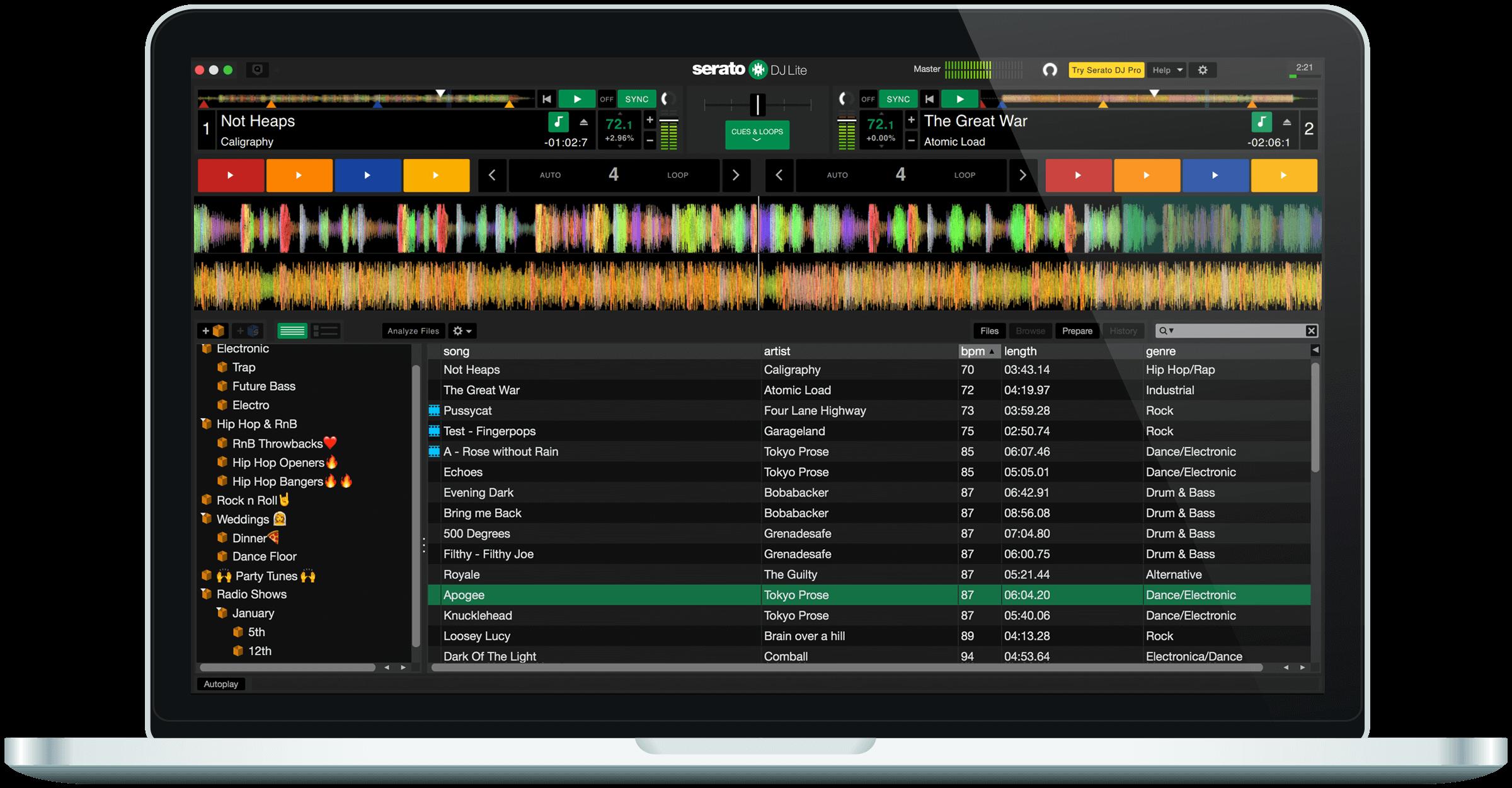 Serato DJ Lite practice mode GUI