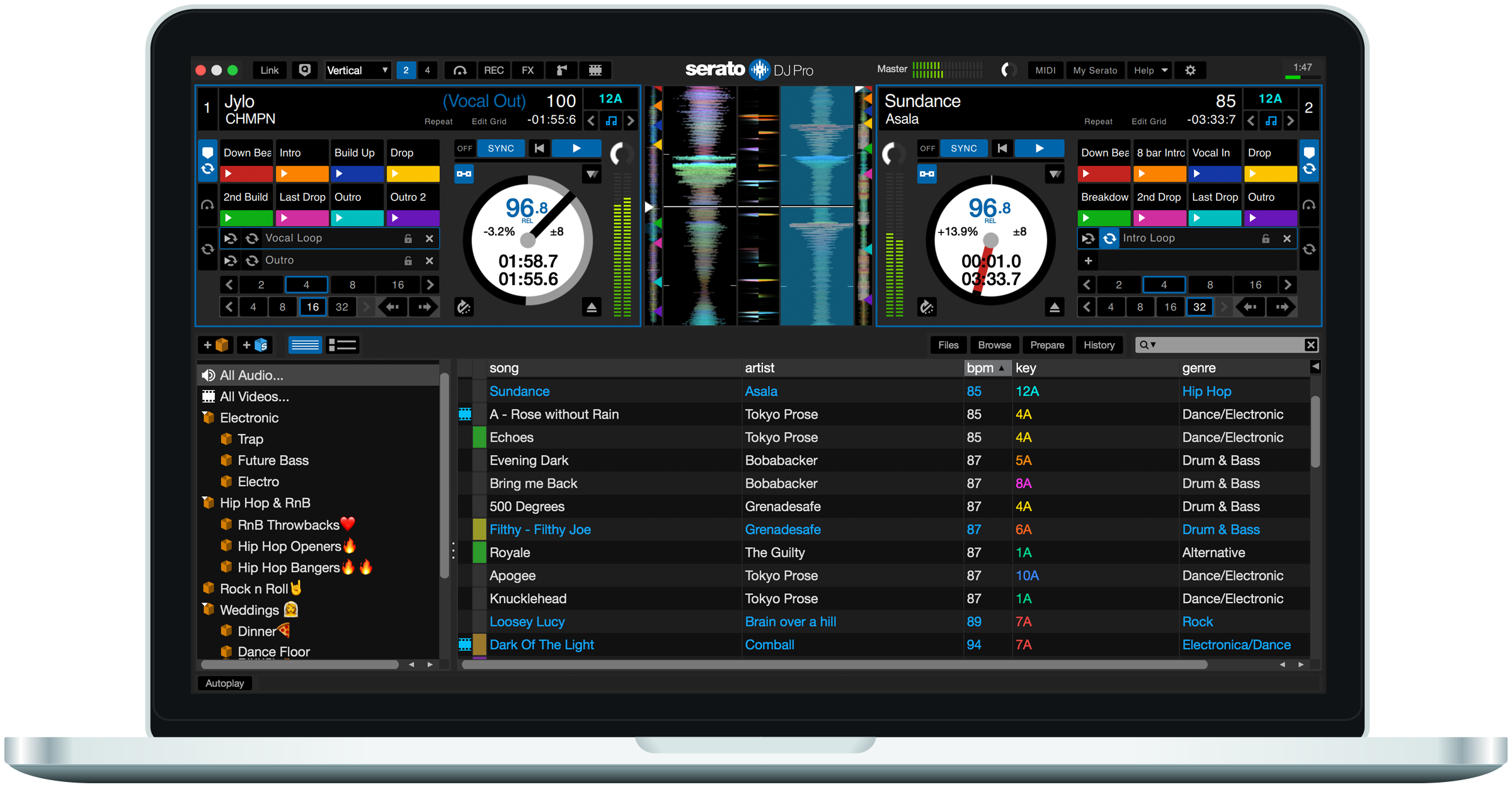 Serato DJ Pro 2.0 user interface