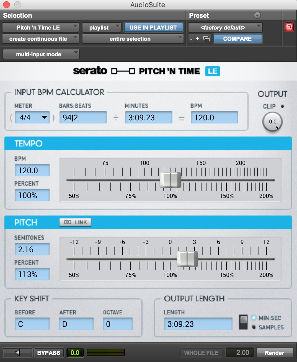 Pitch 'n Time LE user interface